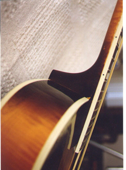 A closer view of the reset neck joint. The guitar has not been refinished.