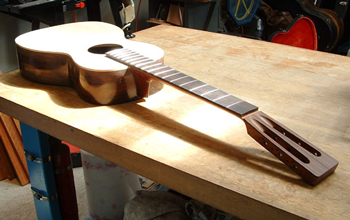 Another view. The neck has been carefully re-shaped around the new fingerboard, and has a very elegant line.